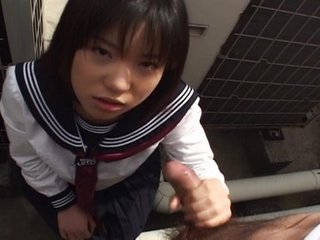 Cute babe Rino Sayaka bathroom blowjob!