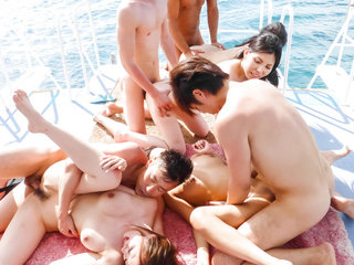 Group porn in outdoors for juist Hikari